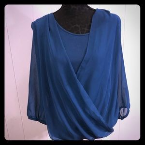 AB Studio Teal Top with shear overlay